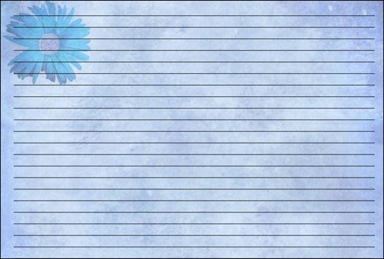 Blue Grunge Flower Printable Writing Paper By Lady Aimee Valentine  Colored Writing Paper